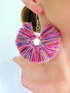 Fan Tassel Earrings - Multicolored - Ginger jar