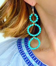 Load image into Gallery viewer, Turquoise Beaded Triple Drop Hoops - Ginger jar