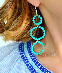 Turquoise Beaded Triple Drop Hoops - Ginger jar