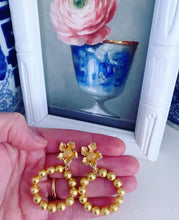 Load image into Gallery viewer, Gold Dogwood Blossom Beaded Drop Hoops - Two Styles - Ginger jar