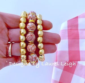 Orange and White Chinoiserie Longevity Symbol Beaded Statement Bracelet - Ginger jar