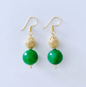 Gold Filigree & Green Jade Drop Earrings - Ginger jar