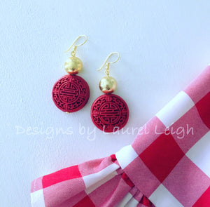 Chinoiserie Drop Earrings - Red & Gold - Ginger jar