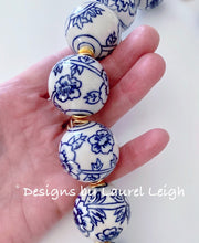Load image into Gallery viewer, Blue and White Floral Chinoiserie Statement Necklace - Ginger jar
