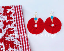 Load image into Gallery viewer, Gemstone Fan Tassel Earrings - Red & Turquoise - Ginger jar