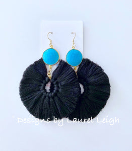 Gemstone Fan Tassel Earrings - Black & Turquoise - Ginger jar