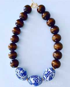 Chunky Short Chinoiserie Beaded Statement Necklace - Brown - 2 Options - Ginger jar