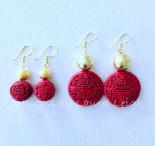 Load image into Gallery viewer, Chinoiserie Drop Earrings - Red & Gold - Designs by Laurel Leigh