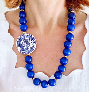 Chunky Long Chinoiserie Dragon Pendant Statement Necklace - Royal Blue - Ginger jar