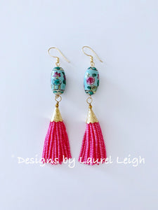 Chinoiserie Famille Rose Beaded Tassel Earrings - Pink & Aqua - Ginger jar