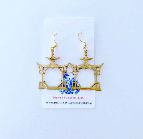 Chinoiserie Gold Pagoda Earrings - Ginger jar