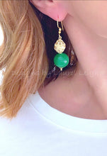 Load image into Gallery viewer, Gold Filigree & Green Jade Drop Earrings - Ginger jar
