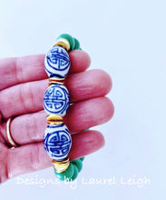 Load image into Gallery viewer, Chinoiserie Beaded Bracelet - Kelly Green - Ginger jar