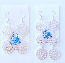 Load image into Gallery viewer, Daisy Drop Statement Earrings - Silver - 2 Styles - Ginger jar