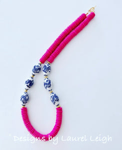 Chunky Hot Pink Chinoiserie Dragon Statement Necklace - Ginger jar