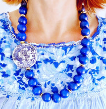 Load image into Gallery viewer, Chunky Long Chinoiserie Dragon Pendant Statement Necklace - Royal Blue - Ginger jar