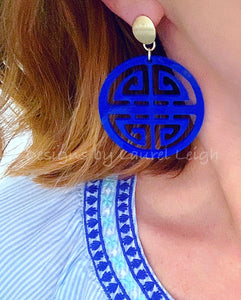 Chinoiserie Chic Longevity Symbol Statement Earrings - Acrylic - White/Black/Royal - Ginger jar