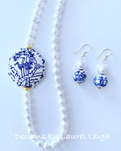 Load image into Gallery viewer, Blue and White Chinoiserie Faceted Mother of Pearl Statement Necklace - Ginger jar