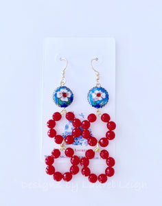 Gemstone Beaded Drop Hoops - Red & Royal Cloisonné - Ginger jar