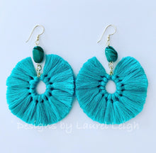 Load image into Gallery viewer, Gemstone Fan Tassel Earrings - Aqua & Green - Ginger jar