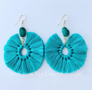 Gemstone Fan Tassel Earrings - Aqua & Green - Ginger jar
