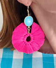 Load image into Gallery viewer, Gemstone Fan Tassel Earrings - Hot Pink & Turquoise - Ginger jar