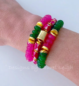 Green & Pink Gemstone Statement Bracelet - 2 Options - Ginger jar