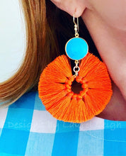 Load image into Gallery viewer, Gemstone Fan Tassel Earrings - Orange & Turquoise - Ginger jar
