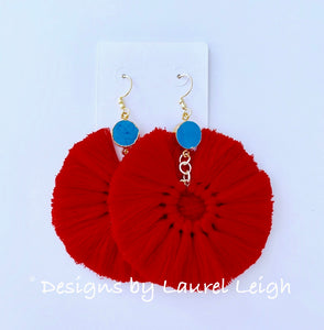 Gemstone Fan Tassel Earrings - Red & Turquoise - Ginger jar