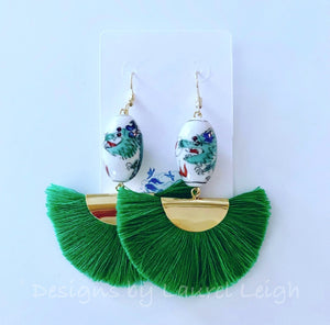 Chinoiserie Vintage Dragon Fan Tassel Earrings - 3 Colors - Ginger jar