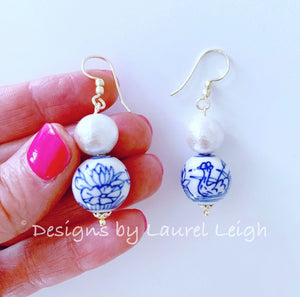 Chinoiserie Cotton Pearl Drop Earrings - Birds/Flowers - Ginger jar