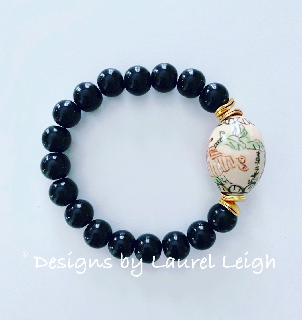Chinoiserie Floral Calligraphy Bead Statement Bracelet - Black - Ginger jar