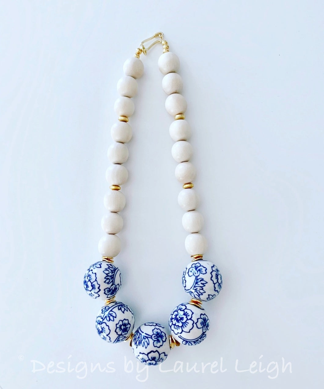 Blue and White Floral Chinoiserie Statement Necklace - Ginger jar