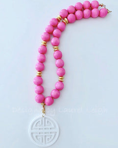 Chunky Pink & White Chinoiserie Statement Necklace - Ginger jar
