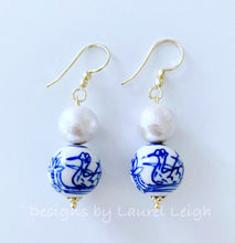 Load image into Gallery viewer, Chinoiserie Cotton Pearl Drop Earrings - Swans/Water Lilies - Gold or Silver Finish - Ginger jar