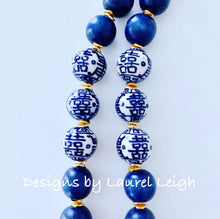 Load image into Gallery viewer, Chinoiserie Double Happiness Pendant Statement Necklace - Navy - Ginger jar