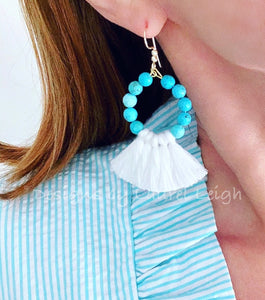 Gemstone Beaded Tassel Hoop Earrings - White or Black & Turquoise - Ginger jar