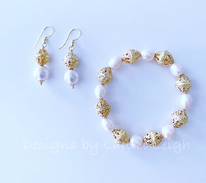 Freshwater Pearl and Gold Filigree Bead Statement Bracelet - Ginger jar