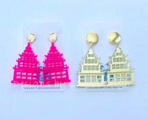 Chinoiserie Chic Pagoda Earrings - Gold or Pink - Ginger jar