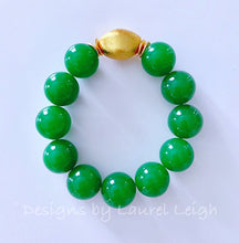 Load image into Gallery viewer, Chunky Green & Gold Gemstone Statement Bracelet - Ginger jar