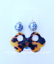 Load image into Gallery viewer, Chinoiserie Ginger Jar Tortoise Shell Flower Statement Earrings - Ginger jar