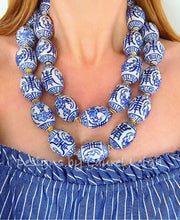 Load image into Gallery viewer, Chunky Blue and White Chinoiserie Oval Bead Statement Necklace - Ginger jar