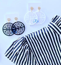 Load image into Gallery viewer, Chinoiserie Chic Longevity Symbol Statement Earrings - Acrylic - White/Black/Royal - Ginger jar