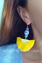 Load image into Gallery viewer, Chinoiserie Ginger Jar Fan Tassel Earrings - Yellow - Designs by Laurel Leigh