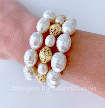 Load image into Gallery viewer, Freshwater Pearl and Gold Filigree Bead Statement Bracelet - Ginger jar