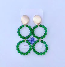 Load image into Gallery viewer, Gemstone Beaded Drop Hoops - Green Jade - Ginger jar
