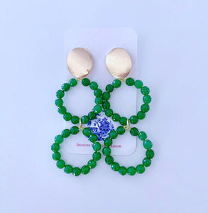 Gemstone Beaded Drop Hoops - Green Jade - Ginger jar