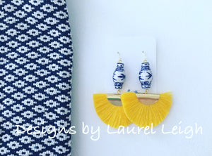 Chinoiserie Ginger Jar Fan Tassel Earrings - Yellow - Ginger jar