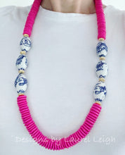 Load image into Gallery viewer, Chunky Hot Pink Chinoiserie Dragon Statement Necklace - Ginger jar
