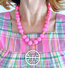 Load image into Gallery viewer, Chunky Pink & White Chinoiserie Statement Necklace - Ginger jar